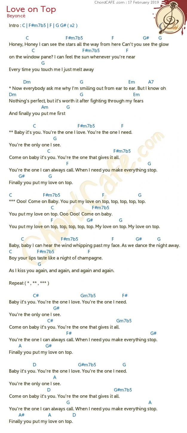 คอร์ด Love on Top   รูปภาพ Download   ChordCafe